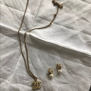 Chanel necklace and earrings.